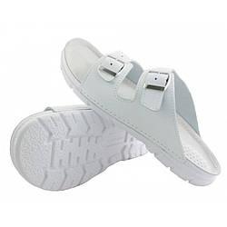 OrtoMed 3027 Білі, Пряжка - Чоловічі ортопедичні тапочки для проблемних ніг