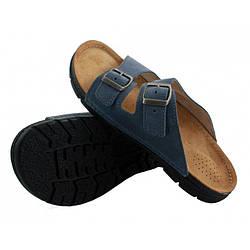 OrtoMed 3027 Синие, Пряжка - Мужские ортопедические  тапочки для проблемных ног