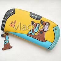 Модный женский кошелек клатч бумажник органайзер для телефона карточек денег собачка желтый