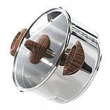 Кастрюля с крышкой Fissman ALTEA 6,1 л. (Нержавеющая сталь, стеклянная крышка с двумя отверстиями для слива), фото 3