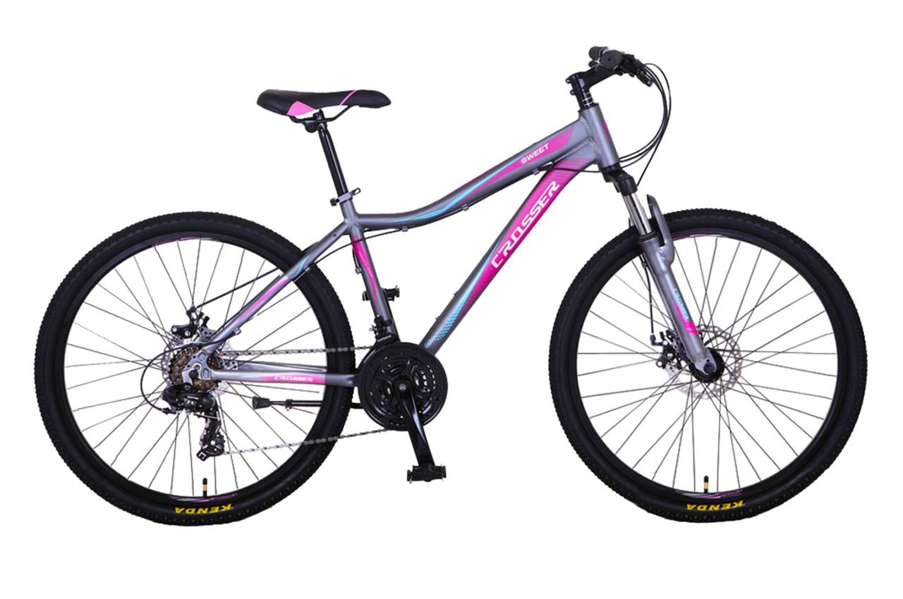 """Горный велосипед CROSSER SWEET 26"""" Серый/розовый"""