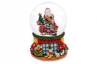 Водяной шар Музыкальный Дед Мороз на санях