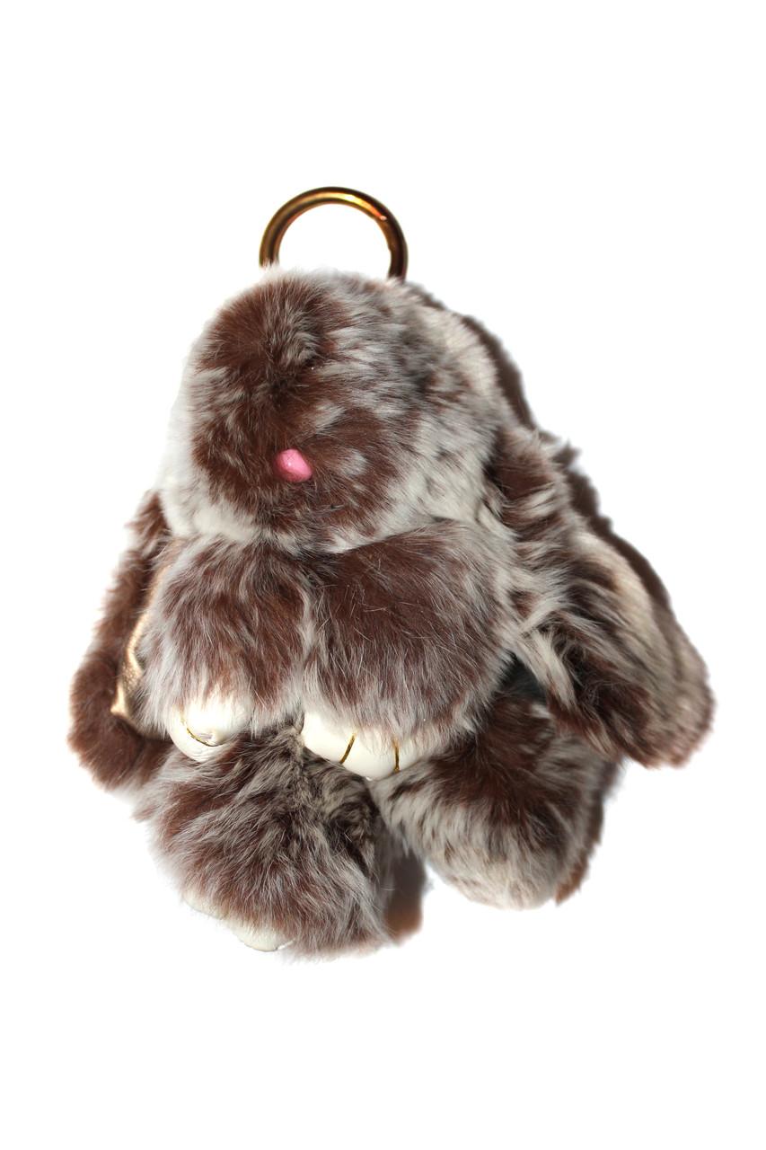 Меховой брелок Кролик меланж Зайчик (средний), шоколад, 15см