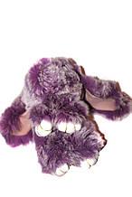 Меховой брелок Кролик меланж Зайчик (средний), фиолетовый , 15см