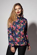 Женская демисезонная куртка. Код модели К-66-87-18. Цвет цветочный синий.