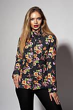 Женская демисезонная куртка. Код модели К-66-87-18. Цвет цветочный черный.