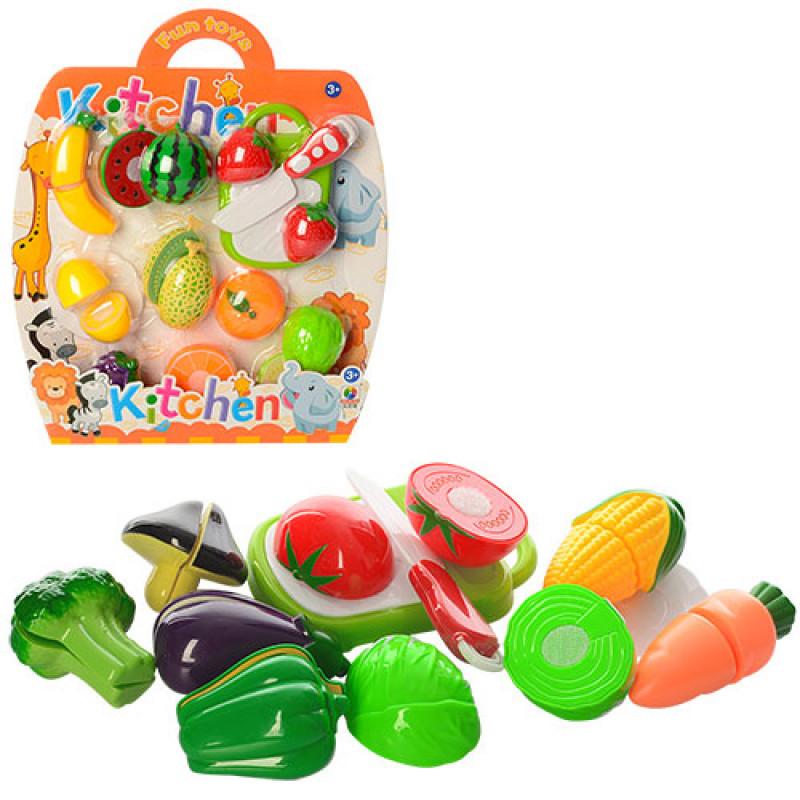 Набор игрушечных овощей и фруктов на липучках MJL-801B-18