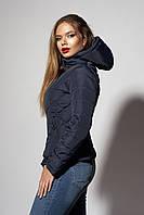 Женская молодежная демисезонная куртка. Код модели К-92-37-18. Цвет темно синий.