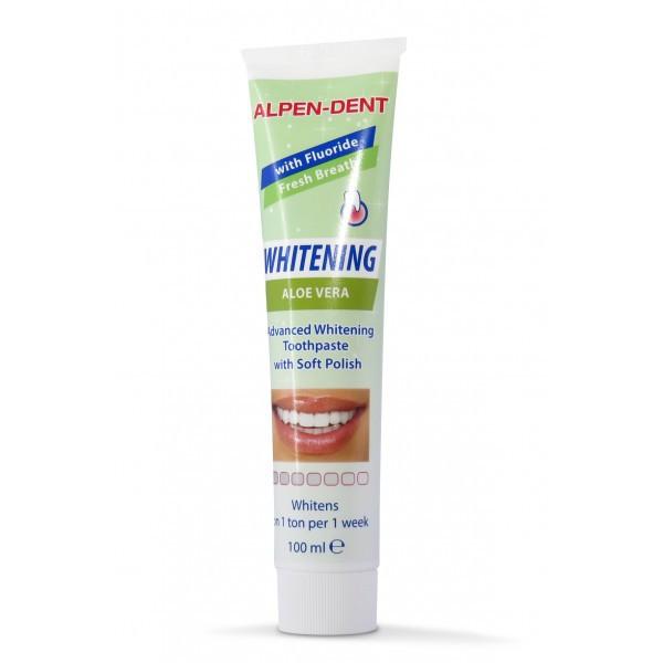 Отбеливающая зубная паста с Алоэ Вера Alpen-Dent Whitening Aloe Vera, 100 ml.