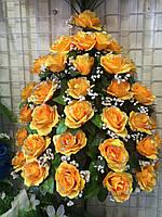 Букет Роза раскрытая с гипсофилом (6 шт./ уп.) Искусственные цветы