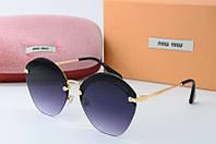 Солнцезащитные очки круглые Миу Миу черные, фото 1