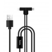 Кабель HOCO X12 One Pull Two Charging Lightning + Micro USB Magnetic Cable (1m) Black