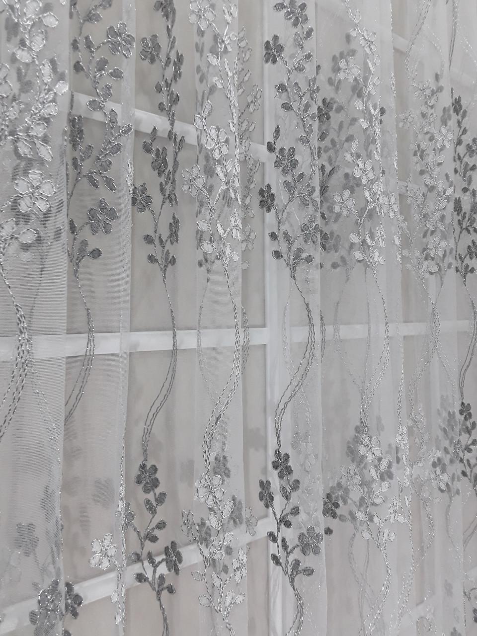 Тюль вышивка Изабелла Серебро, 3 метра