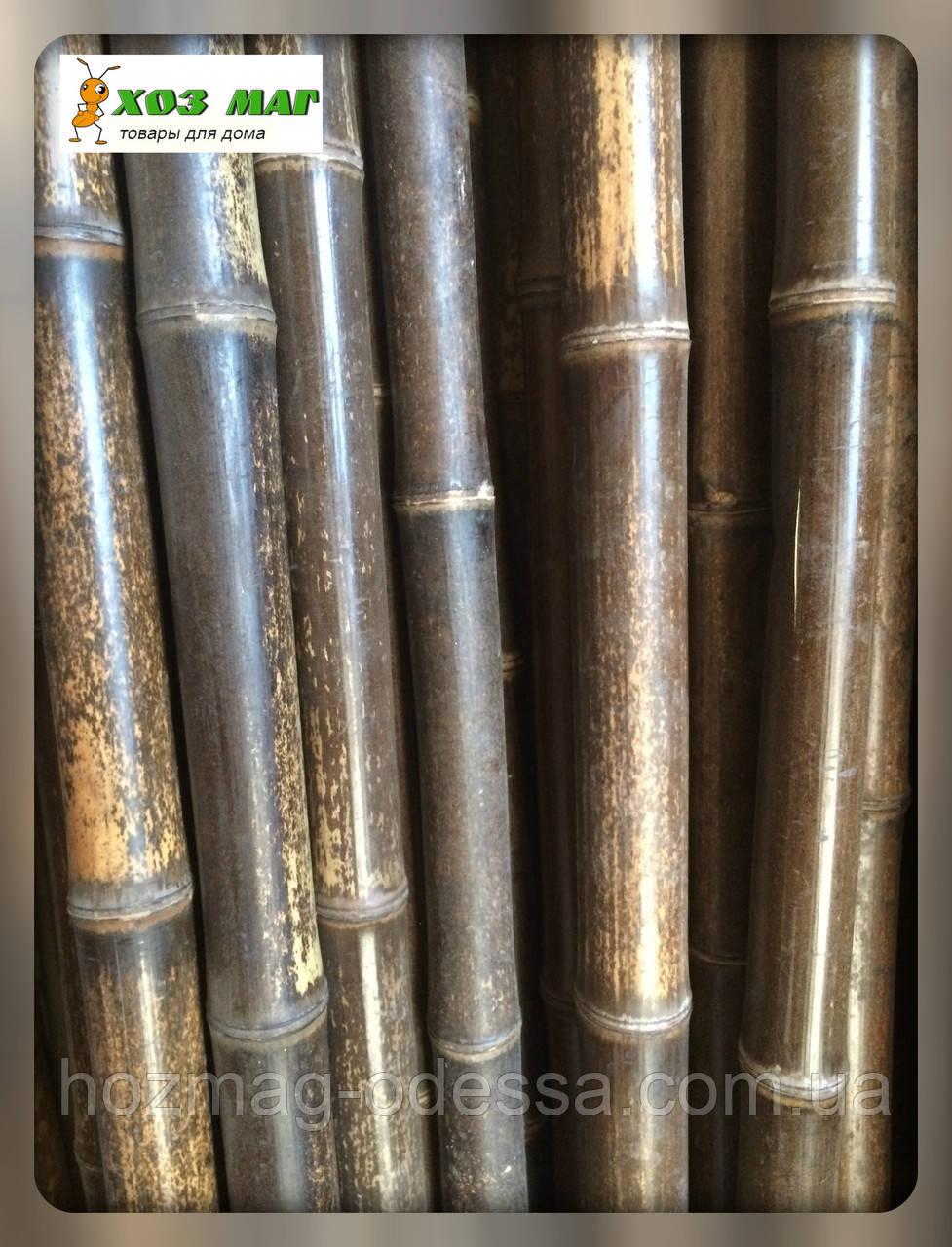 Бамбуковый ствол декоративный черный, длина 3м., д.4-5см Уценка!
