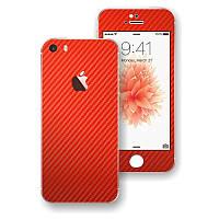 Красный Карбон на iPhone 5s и SE Виниловые Декоративные Наклейки Скин Защитная Пленка под Carbon Винил Стикер