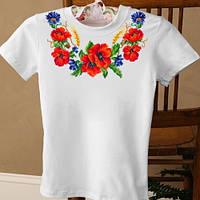 Женская футболка вышиванка с вышивкой крестиком маков