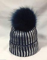 Модная новинка! Женская зимняя шапка бубон с металлизированным блеском черная с серебром 55-58, фото 1