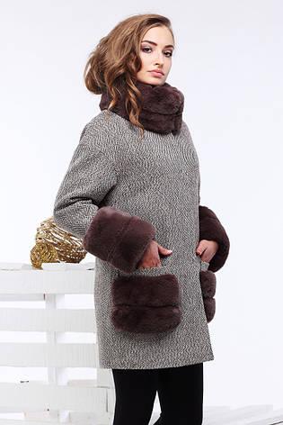 Женское пальто Кейлин, шерсть, шоколад, р.42-50, фото 2