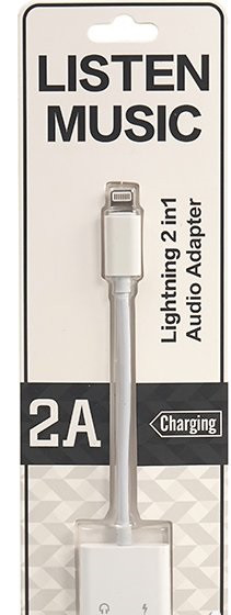 Кабель PowerPlant Lightning 2 в 1, Audio 3.5 мм - Lightning (CA910427)