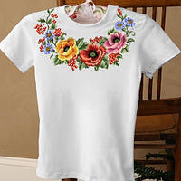 Женская футболка вышиванка с калиной и мальвами