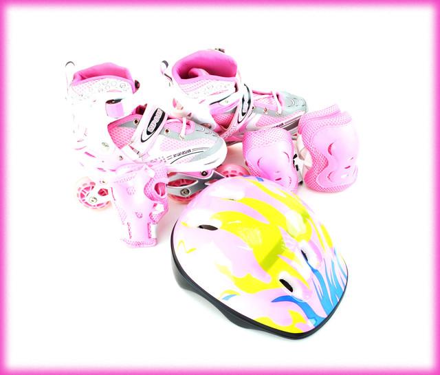 Комплект Ролики Розовые Раздвижные HAPPY SPORT 29-33,34-38