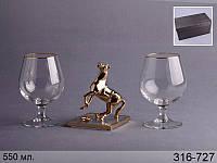 """Набор бокалов для коньяка из 2 шт. 500 мл подарочный с фигуркой """"лошадь"""" 13 см"""
