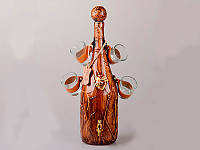 Набор для виски 5 пр. ( бутылка+4 рюмки), бутыль 2,5 л, рюмка 70 мл. кожа+стекло