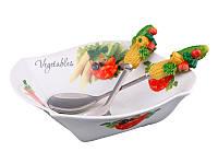 """Салатник """"овощное ассорти"""" с ложкой и вилкой, 25х25х8 см"""