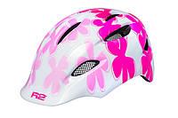 Шолом дитячий R2 Ducky білий/рожевий з квітками XS (48-52см)