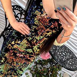 Красивое эффектное черное платье паетки хамелион