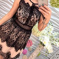 Красивое вечернее платье с дорогим кружевом без рукава беж с черным