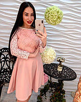 Красивое элегантное платье дорогое кружево, полиэстер с жемчугом розовое, белое, черное