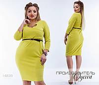 Платье облегающее вырез сердце R-14870 оливковый