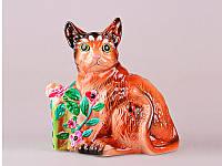 """Копилка """"кот с подарком"""" 18см, керамика"""