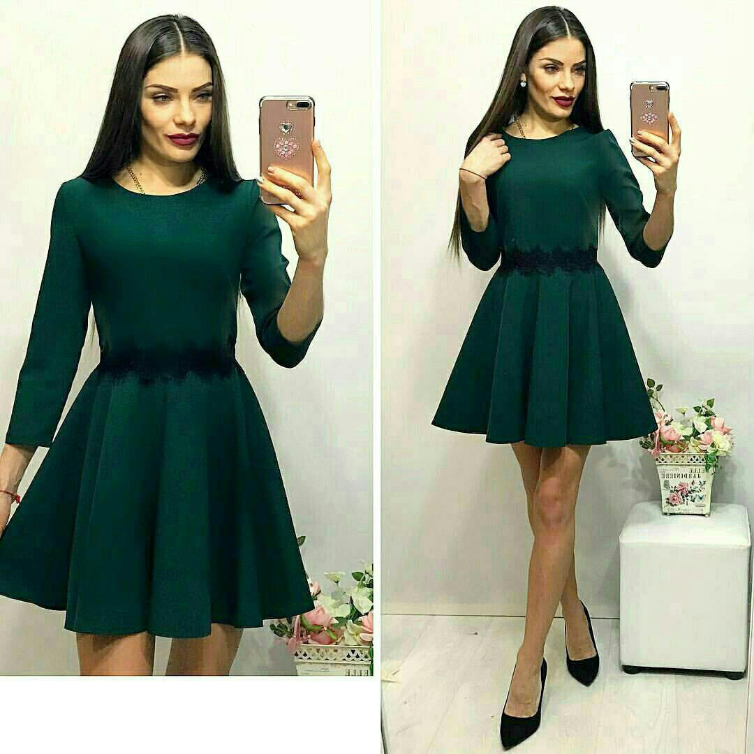 Платье ресничка, цвет -бутылочка