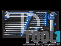 Ключи комбинированые 06-24мм, разрезные 8-17мм , HEX 1.5-10мм в ложементе 31 предмет KINGTONY 9-91131MRV