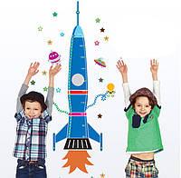 Детская наклейка-ростомер на стену Ракета AY9028 - ОПТ
