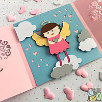 """😇 """"Мой ангел Брюнетка"""" механическая открытка ручной работы в подарок любимым"""