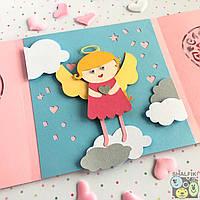 """😇 """"Мой ангел Блондинка"""" механическая открытка ручной работы в подарок любимым"""
