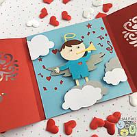 """😇 """"Мой ангел Брюнет"""" механическая открытка ручной работы"""