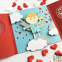"""😇 """"Мой ангел Блондин"""" механическая открытка ручной работы в подарок любимым"""
