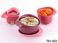 """Набор чайный """"для завтрака"""" с фильтром на подставке, 5 пр., 180 мл, 250 мл и 350 мл (роз.)"""