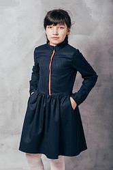 Детское строгое платье в клеточку, с пышной юбкой
