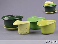 "Набор чайный ""для завтрака"" с фильтром на подставке, 5 пр., 180 мл, 250 мл и 350 мл (зелен.)"