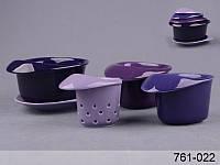 """Набор чайный """"для завтрака"""" с фильтром на подставке, 5 пр., 180 мл, 250 мл и 350 мл (син.)"""
