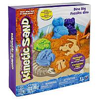 Набор песка для детского творчества - KINETIC SAND DINO (голубой , коричневый, аксессуары, 340 г)   71415Dn