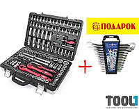 """Набор инструментов 151 ед. (1/2""""; 1/4""""; 3/8"""", 4-32 мм; Е4-Е18) + набор ключей комбинированных 12ед (6-22мм). Tool1 AA-0103"""