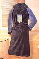 Модный мужской махровый халат софт с вишывкой