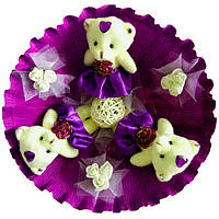 Букет из 3 мягких игрушек Мишки на фиолетовом