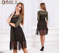 Платье трикотажное с сарафаном сеткой